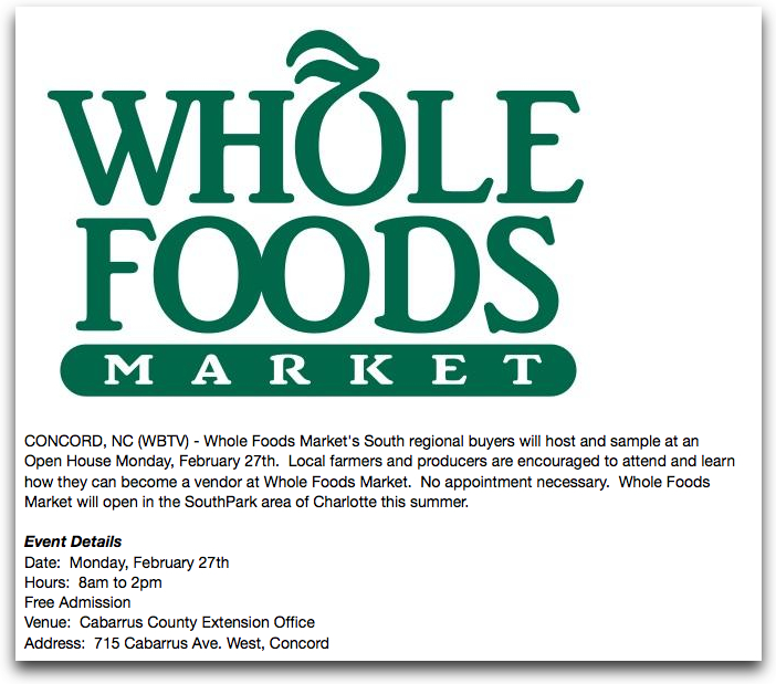 Whole Foods Market looking for local vendors  southpark