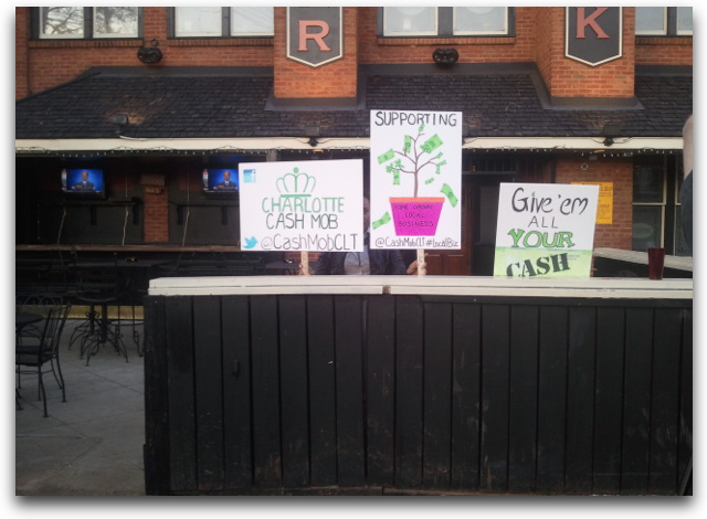 charlotte cash mob support atherton mills southend businesses