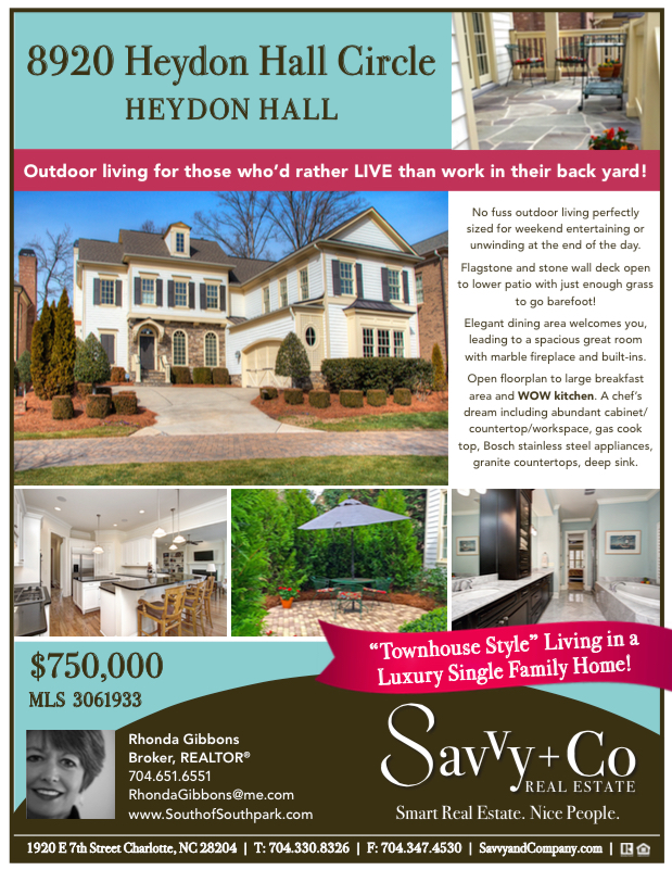 Flyer_8920 Heydon Hall Cir_Mike and Rhonda Gibbons Charlotte Home for sale